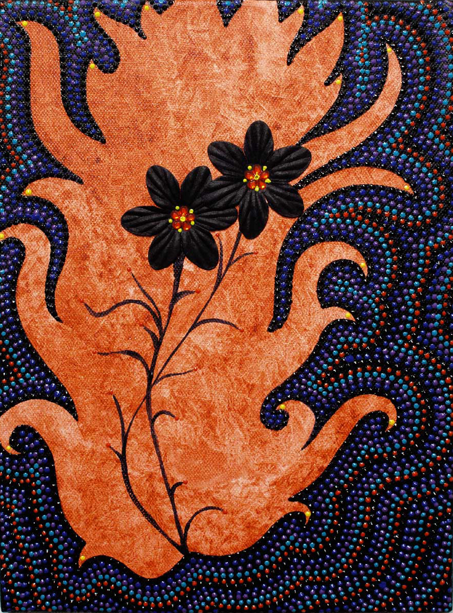 """Midnight Flowers,2006 Acrylic and paper on canvas 15"""" x 12"""""""