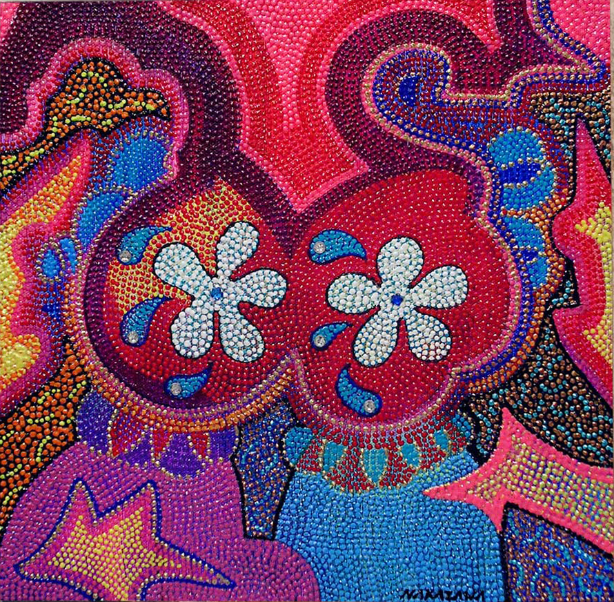 """Urban Mantra Pasties,2005 Acrylic and jewels on canvas 12"""" x 12"""""""