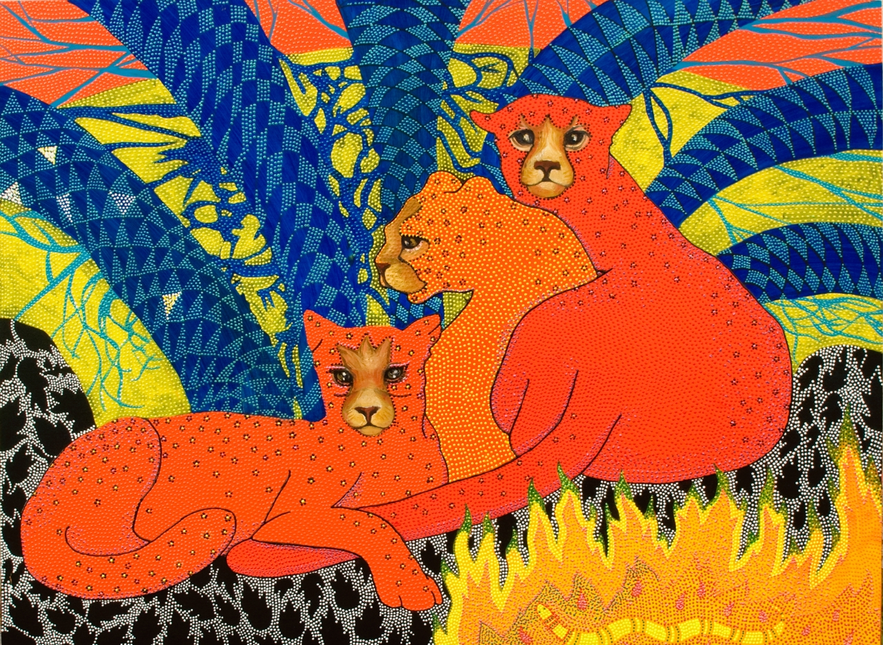 """Cheetahs,2007 Oil and acrylic on shaped board 24"""" x 32"""""""