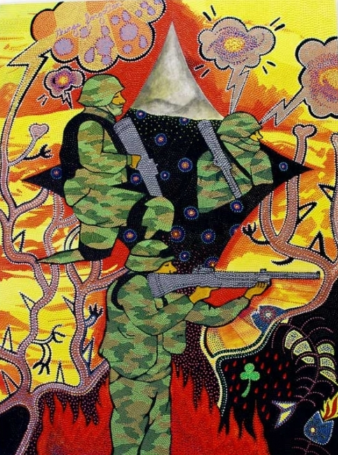 """War in Pictures, 2009 Jewels, acrylic paint and graphite on canvas 48"""" x 32"""""""