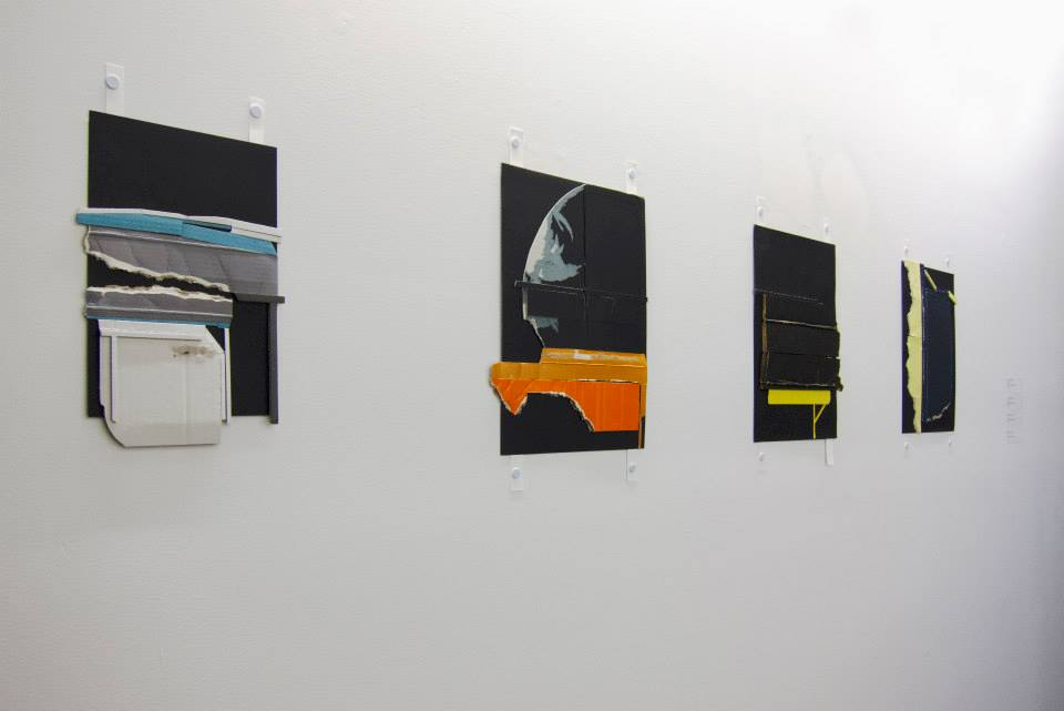 Ryan Sarah Murphy, 2013 Mark, Riser, Roof, Cliff (from left to right) Found cardboard on paper