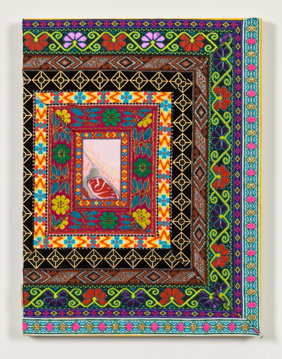 "Textile Surrogate, II,2014 Jacquard fabric and gouache on wood panel 20"" x 16"""
