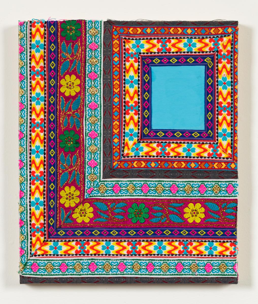 "Textile Surrogate, III,2014 Jacquard fabric and gouache on wood panel 16"" x 12"""