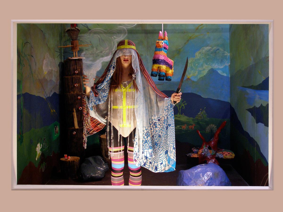 "High Priestess Personality: Smoke & Mirrors,2010 Digital print on metallic paper, mounted on sintra board 16"" x 20""  Featuring: Brigid Mason"