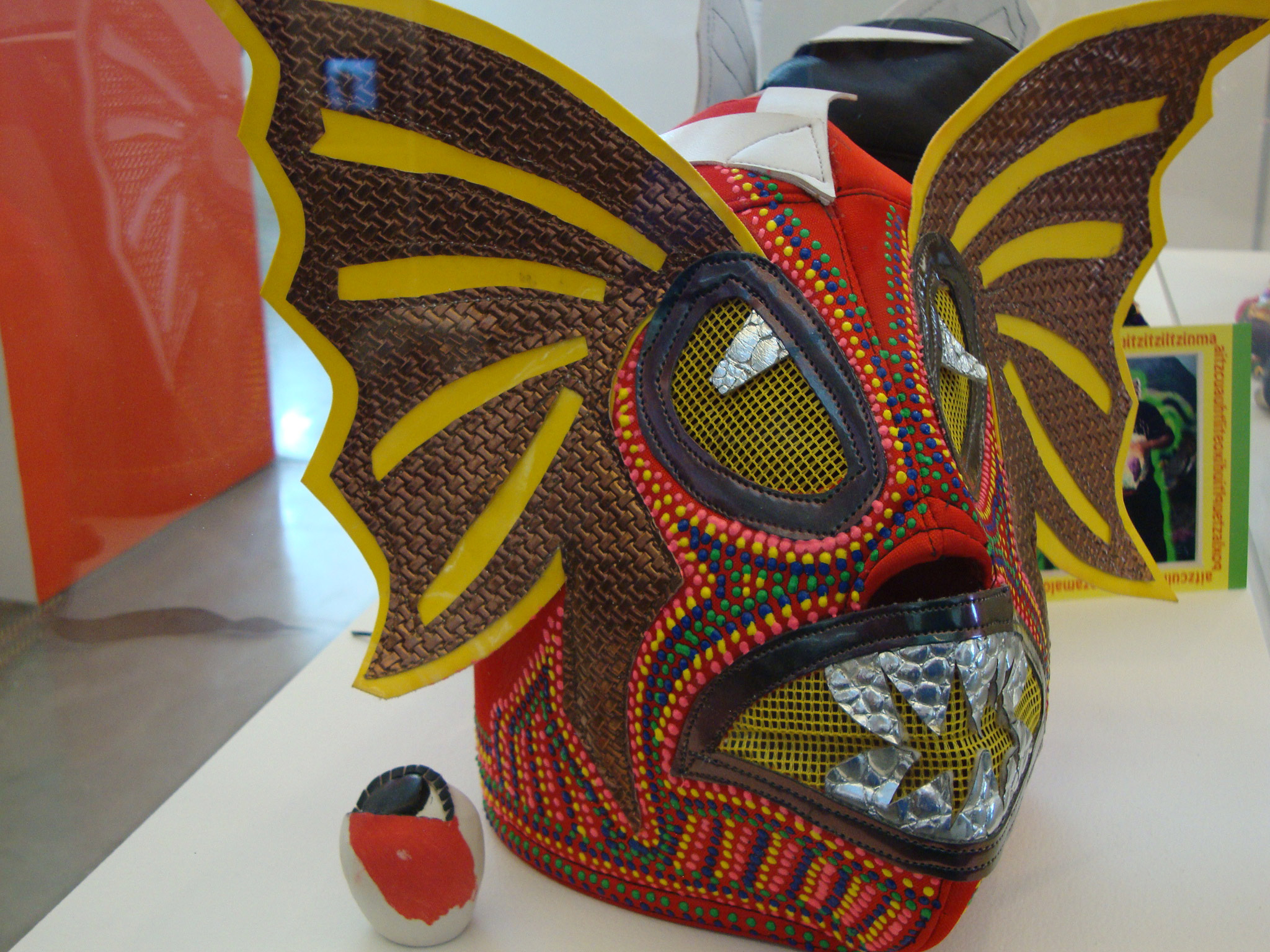 Red Mask,2010 Altered luchador mask and acrylic paint