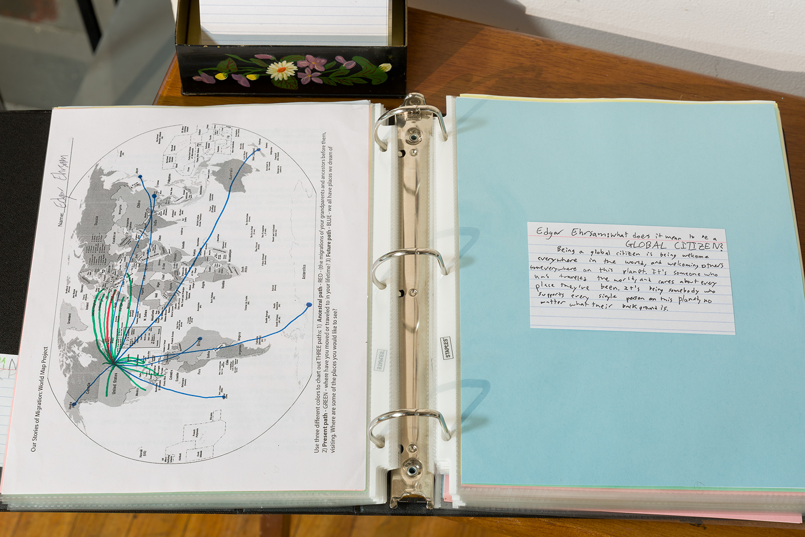 "Mapping binder and view of student photo grid - pat of ""Our Stories of Migration""  Photo credit: Etienne Frossard"