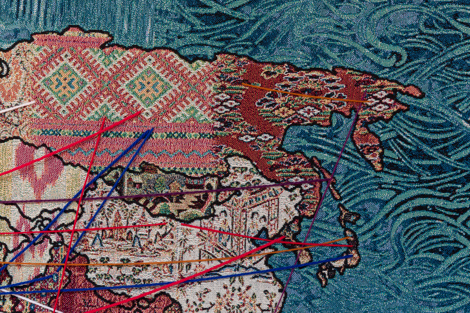 """Detail of """"Our Stories of Migration"""" digital tapestry  Photo credit: Etienne Frossard"""