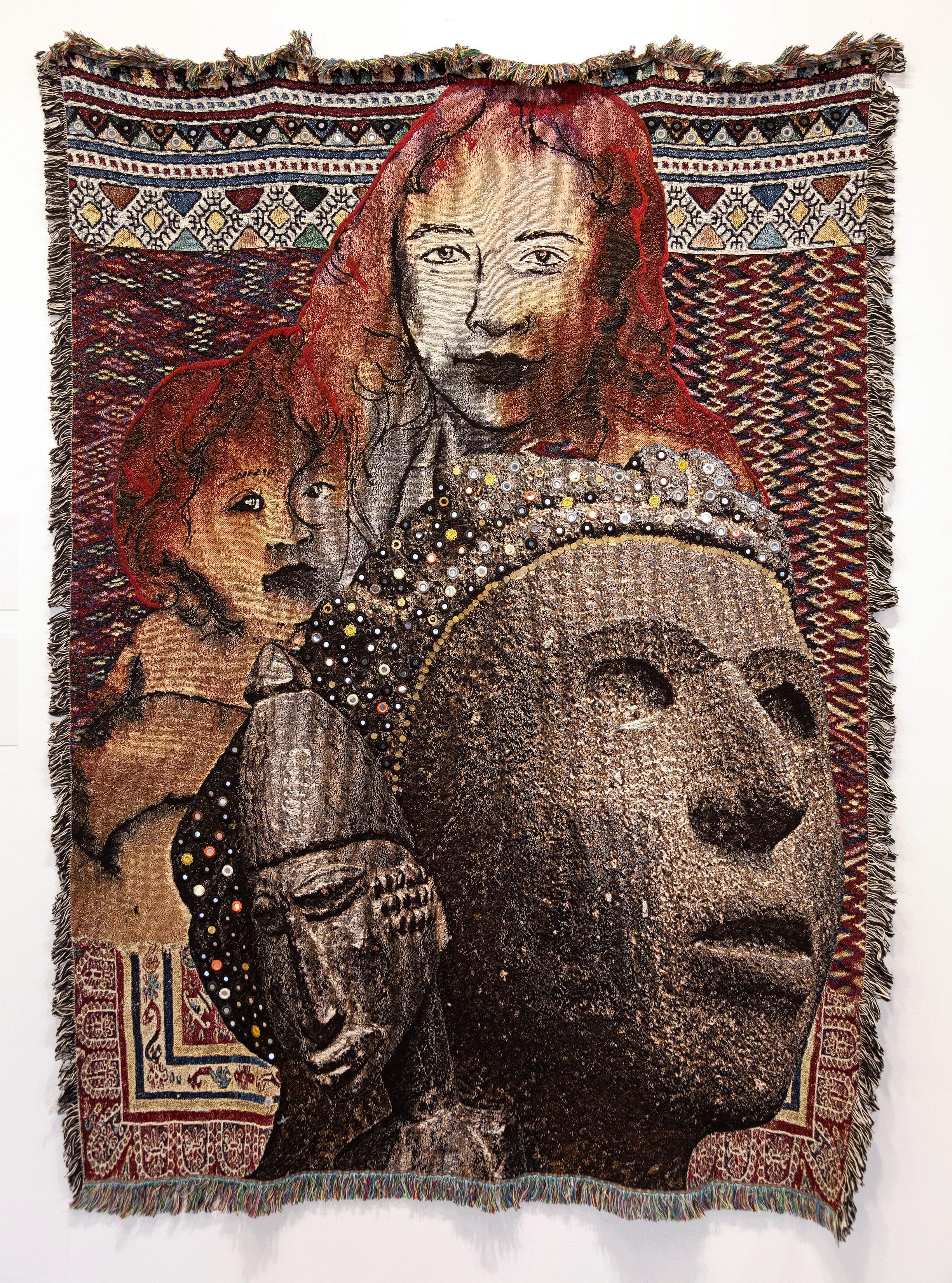 "Obtrait: La Migración, 2018 Jacquard woven tapestry, shisha hand embroidery, metal sequins 71"" x 106"""