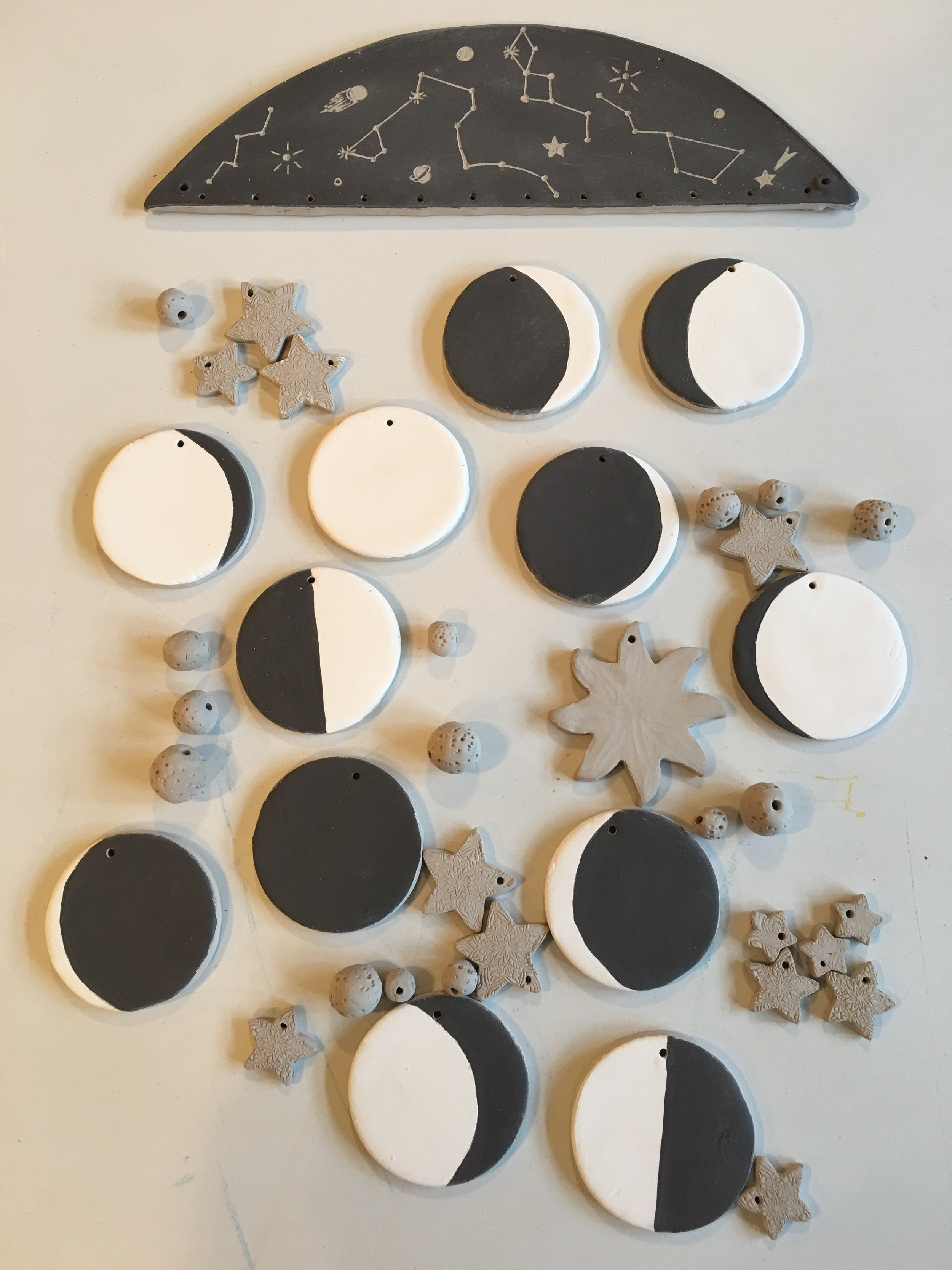 """Here is my """"moon phases"""" sample with a """"constellation base,"""" once it is fired I will assemble it to hang on the wall."""