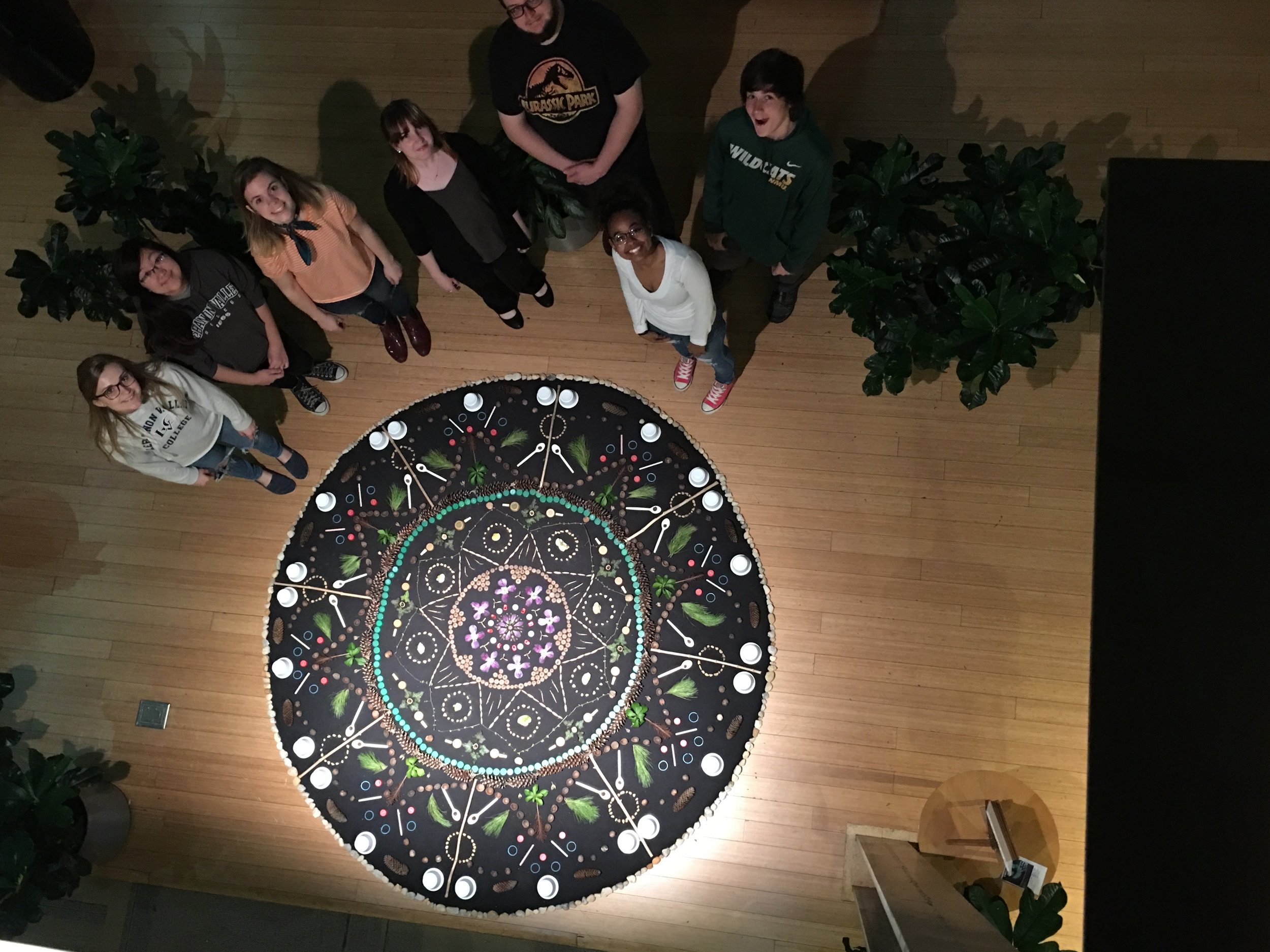 Mandala of found organic and man-made objects created by my Sculpture class at Lebanon Valley College for Earth Day 2018.