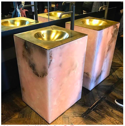 pink onyx and gold basins from     Boffi