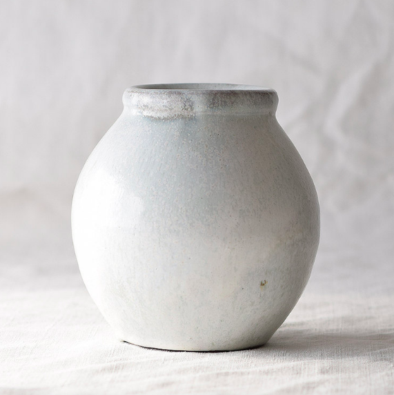 Beautiful sustainable ceramics by Rebecca Proctor. Hand-thrown stoneware vase, Cornish clay, nuka glaze, natural ashing £75.   Modern Craft Workshop