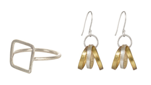 A delicate ring, £9.60, and Multi Ring Earrings - brass and silver-plated copper, £12.80. Both made by artisans at Bombolulu, a fair trade social business in Kenya that creates beautiful handmade jewellery and provides opportunities for people who have physical disabilities. Available on from  People Tree