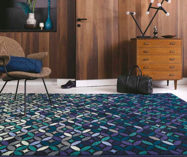 Ted Baker - 58908 Cosmoz Teal Rugs  | Modern Rugs From £499. These matt and high gloss finish axminster-woven rugs are made from a New Wool and Tencel mix. This eco-friendly fibre has a look and feel very similar to silk, whilst being very durable.