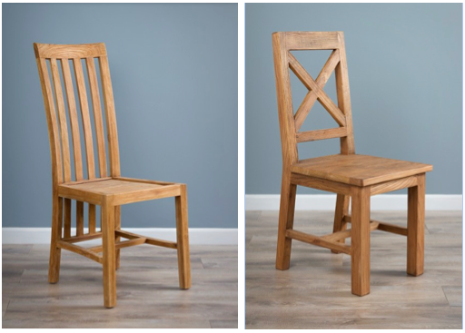 Teak Dining Chair £120 / Elm Cross Back Dining Chair £215 both made from reclaimed timber, from  The Sustainable Furniture Company , for a modern rustic style
