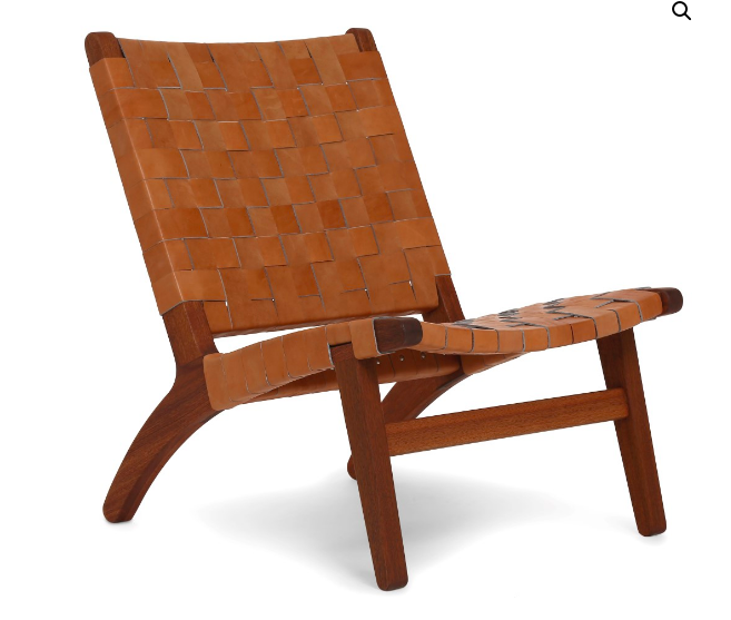 The  Masaya Lounge Chair  is handmade using sustainably harvested tropical hardwood. The barley leather is cut, dyed and hand-wrapped by local artisans and 100 trees are planted for every chair sold. 1055 Euros from  Yume .