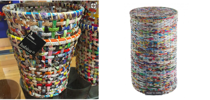 Recycled wastepaper baskets  and  laundry baskets by Habitat