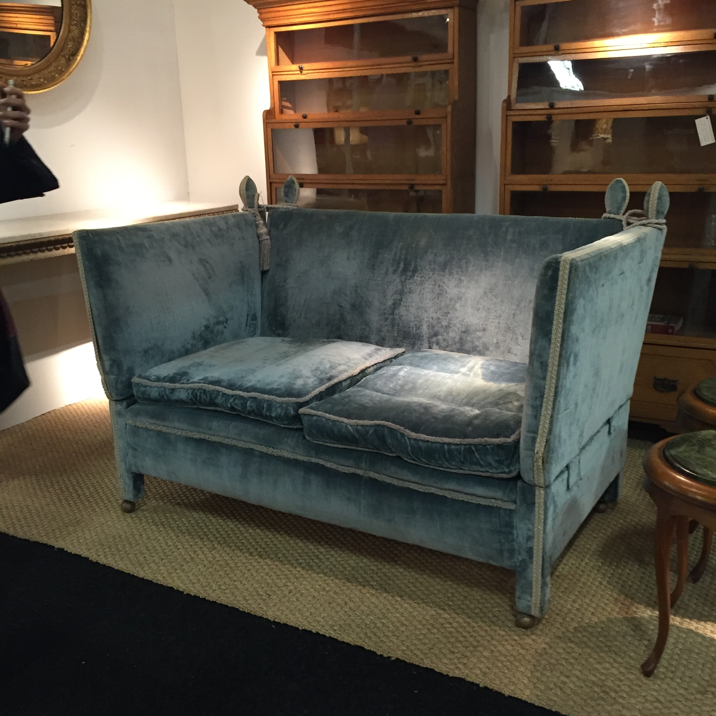 This lovely blue velvet sofa is comfortable, cocooning and classy.£1950 from  Nadin & Macintosh , Sherborne, Dorset.
