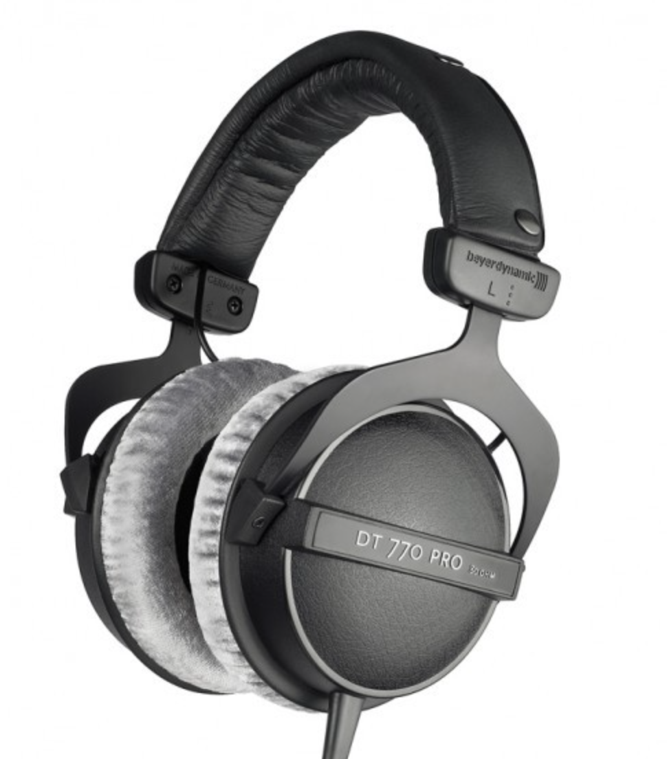 Beyerdynamic DT770 - Beyerdynamic have been producing headphones for a long time. Anyone who has ever been in a recording studio (or seen any archive footage from Abbey Road Studios) might be more familiar with the DT100's, a stalwart of the recording and broadcast industries since the 1970's - not because they sound great, but because they are easy to wear on one ear (a preference for many vocalists and drummers), plus all the parts are serviceable and replaceable, and the same is true for the 770's, however these actually do sound great! The frequency response you get for the reasonable price is unrivalled. The sound of these headphones is very true and accurate - and headphones that go as low as 5hz at around the £100 mark is very helpful for those wanting to pay particular attention to the low end of their mixes whilst not having access to large speakers or pricey subwoofers. The padded circum-aural design of the cups and padded headband make these cans very comfortable, even over very long sessions. They also come in an open back version, the DT990's, that are around the same price, and a 'semi-open back' model in the DT880's which tend to be around £70 more. The DT990's come in a 80 and 250 ohm version so if you have an interface or headphone amp, the higher ohmage version should be considered. One downside of this whole range is that they are quite bulky and do not have a 'fold away' design like some others in this review, and they are probably a bit to hefty to use whilst out and about. They are however, a very rugged and robust feeling product that have a trustworthy sound.Price: £103Cup Type: Closed (DT990 for open version)Frequency Response: 5Hz - 35-kHzImpedance: 80 Ω / 250 ΩCable: 3m straighthttps://www.bopdj.com/sound/headphones/studio/beyerdynamic-dt-770-pro-80-ohm.html
