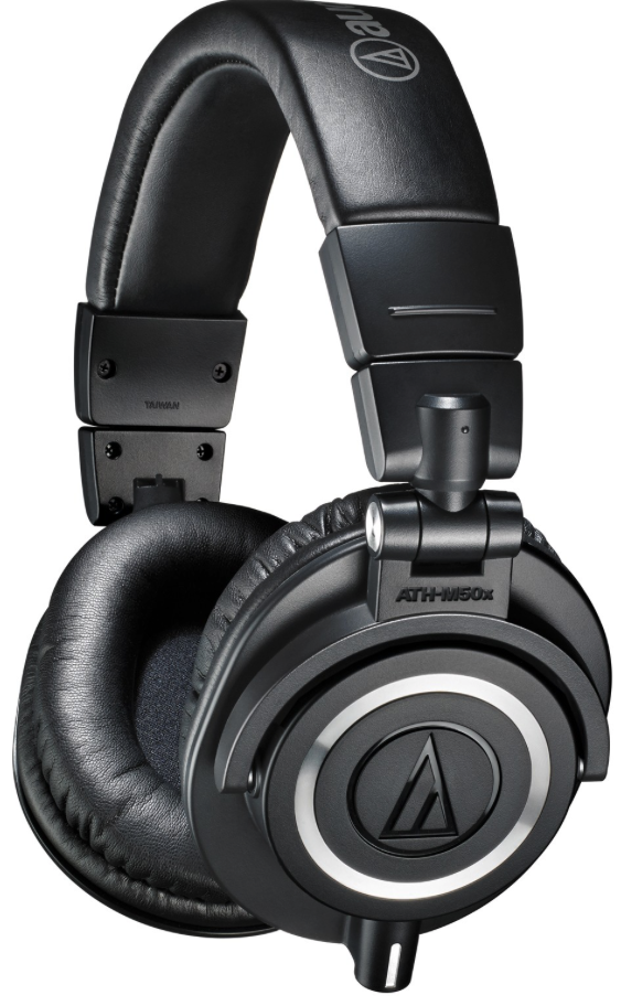 Audio Technica ATH-M50X - Audio Technica is a brand synonymous with high quality audio equipment. They have a full range of the M-series headphones, at varying price points. The M50x sit in the middle of the range and a great all round headphone. They deliver accurate audio and outstanding comfort, perfect for long sessions in the studio and on the go. Contoured earcups seal tight for excellent sound isolation, with minimal bleed. This means they will also triple up as great general listening headphones as they pack away neat and tidily and are also suitable of DJ use, especially with the 90° swivelling ear-cups, which will also come in handy for various other performers if using in a studio application. Another handy feature for such applications is that they come with three different detachable cables, so you can use them in different situations as you see fit.Price: £119Cup Type: ClosedFrequency Response: 15Hz - 28kHzImpedance: 38 ΩCable: 3 x Detachable cables (1.2m - 3.0m coiled cable, 3.0m straight cable and 1.2m straight cable)https://www.bopdj.com/sound/headphones/studio/audio-technica-ath-m50x.html