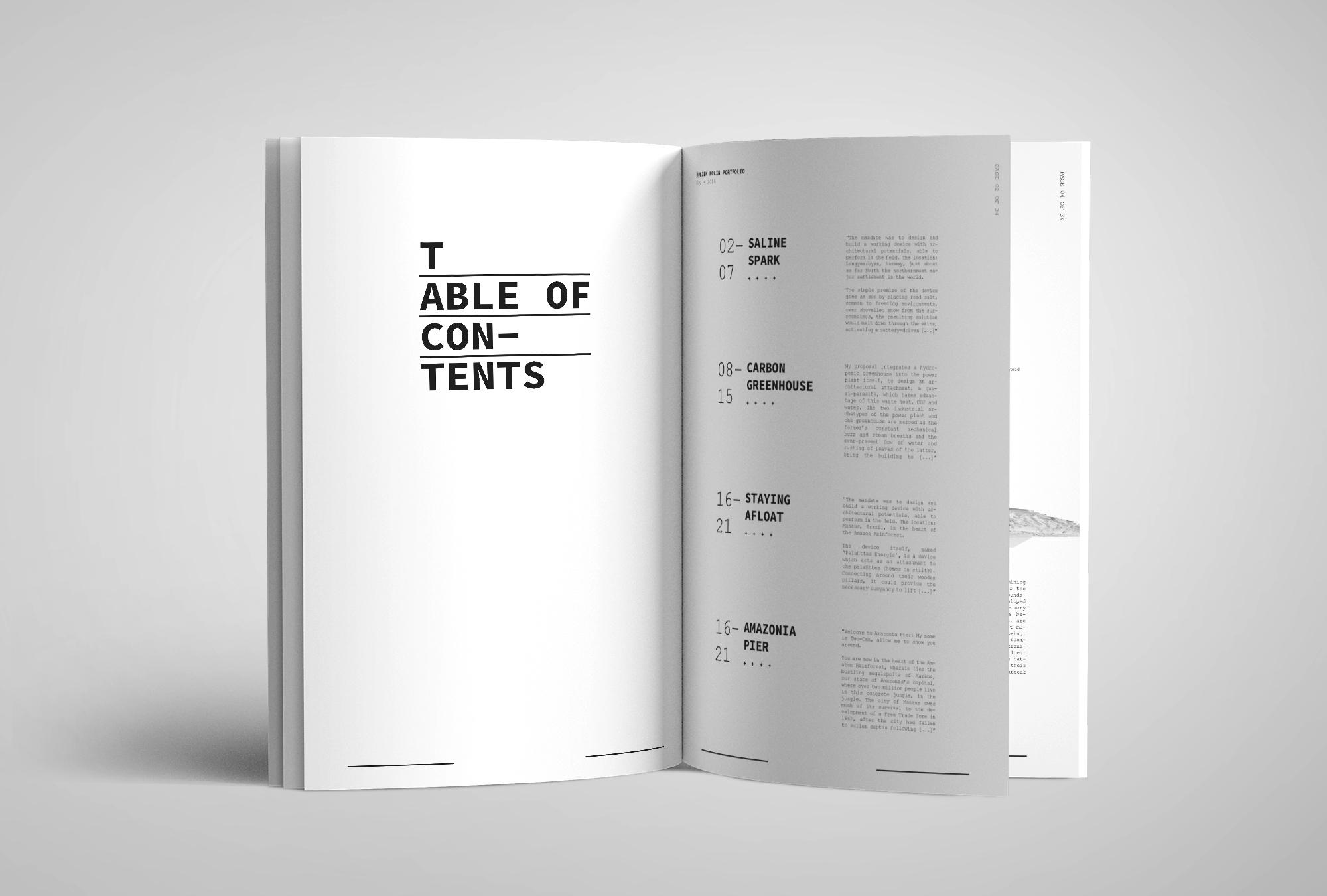 Julien Nolin Architecture Portfolio Table of Contents