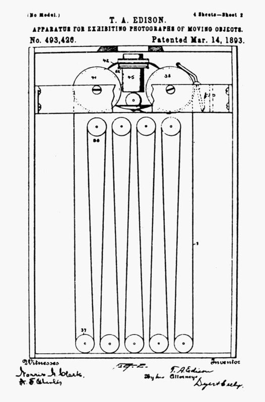 Thomas Edison's 1893 patent drawing