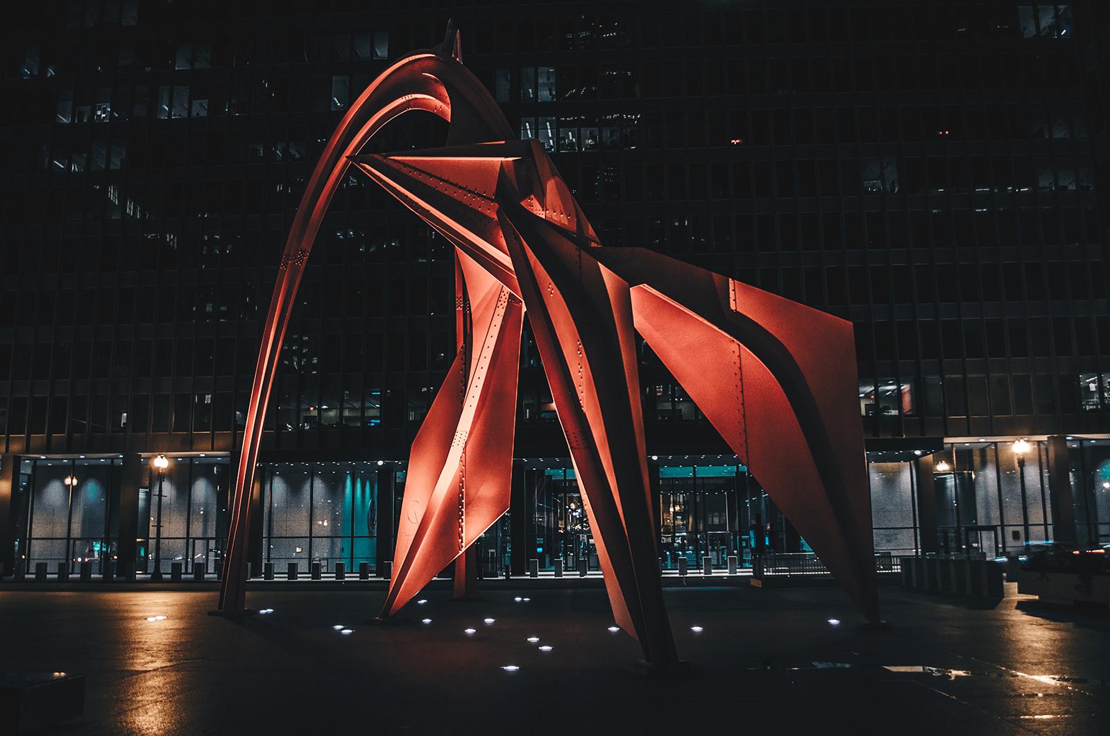 Calder's Flamingo located downtown Chicago.