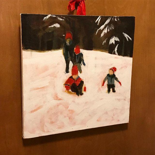 A painting of mine, spotted in the wild. #jasonedwarddavis #painting #winterwonderland #acrylic