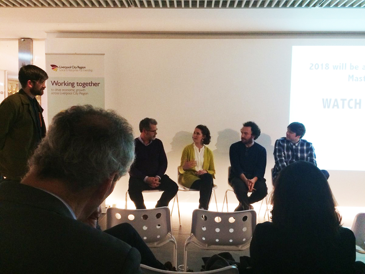Q&A panel from left to right: Ewen Miller, Me, Lewis Jones, Ryan Shaw. Photo credit RIBA NW