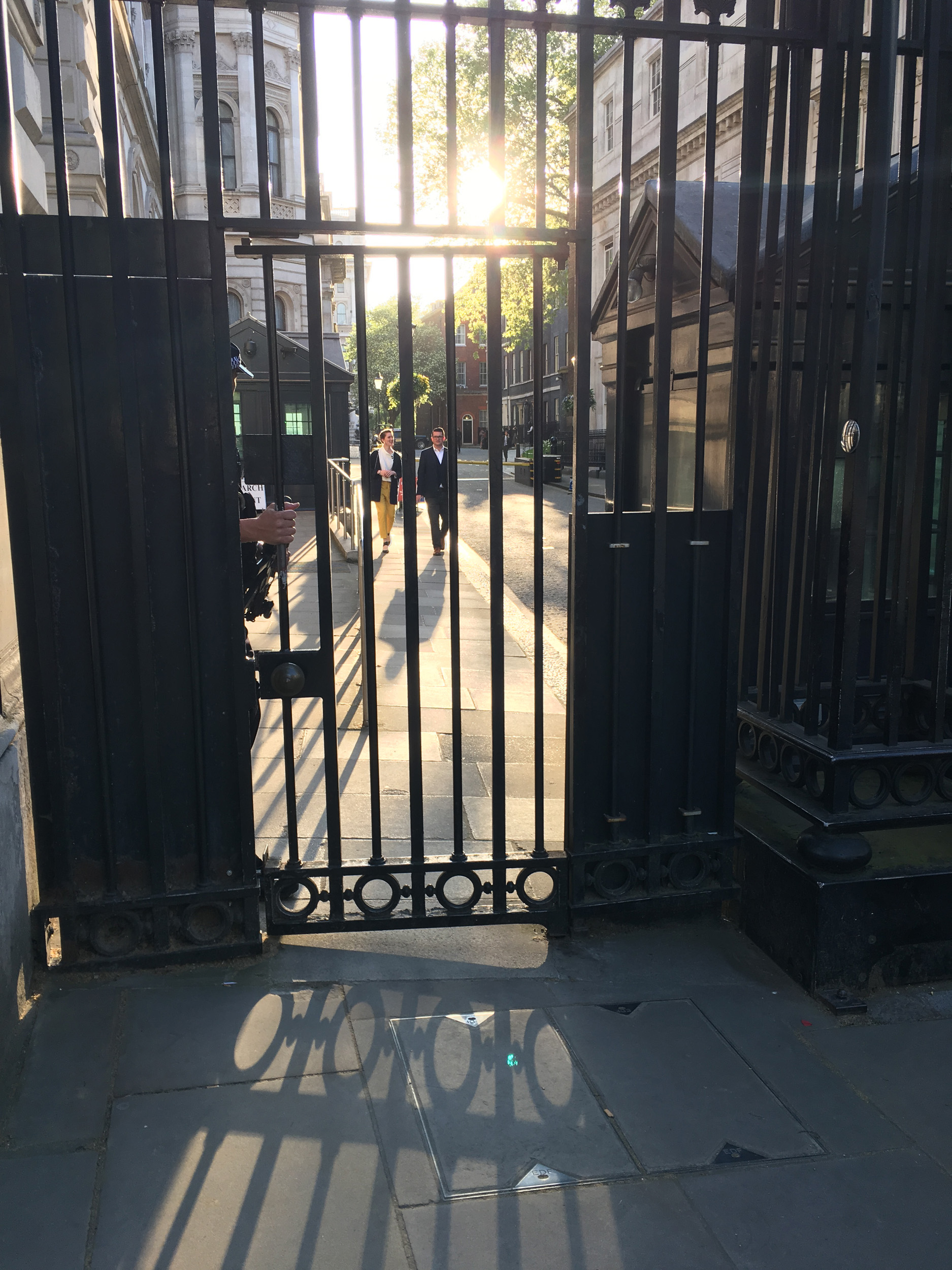 The sun going down on a very special day as I walk towards the gate in my yellow trousers.