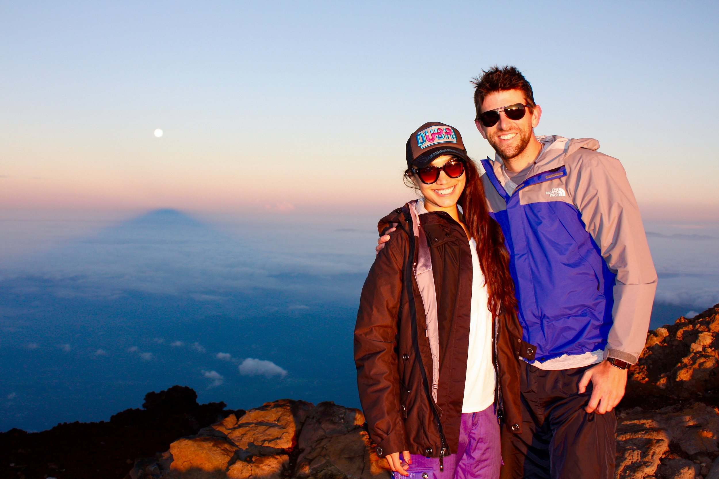 Sunrise at the summit of Mount Fuji