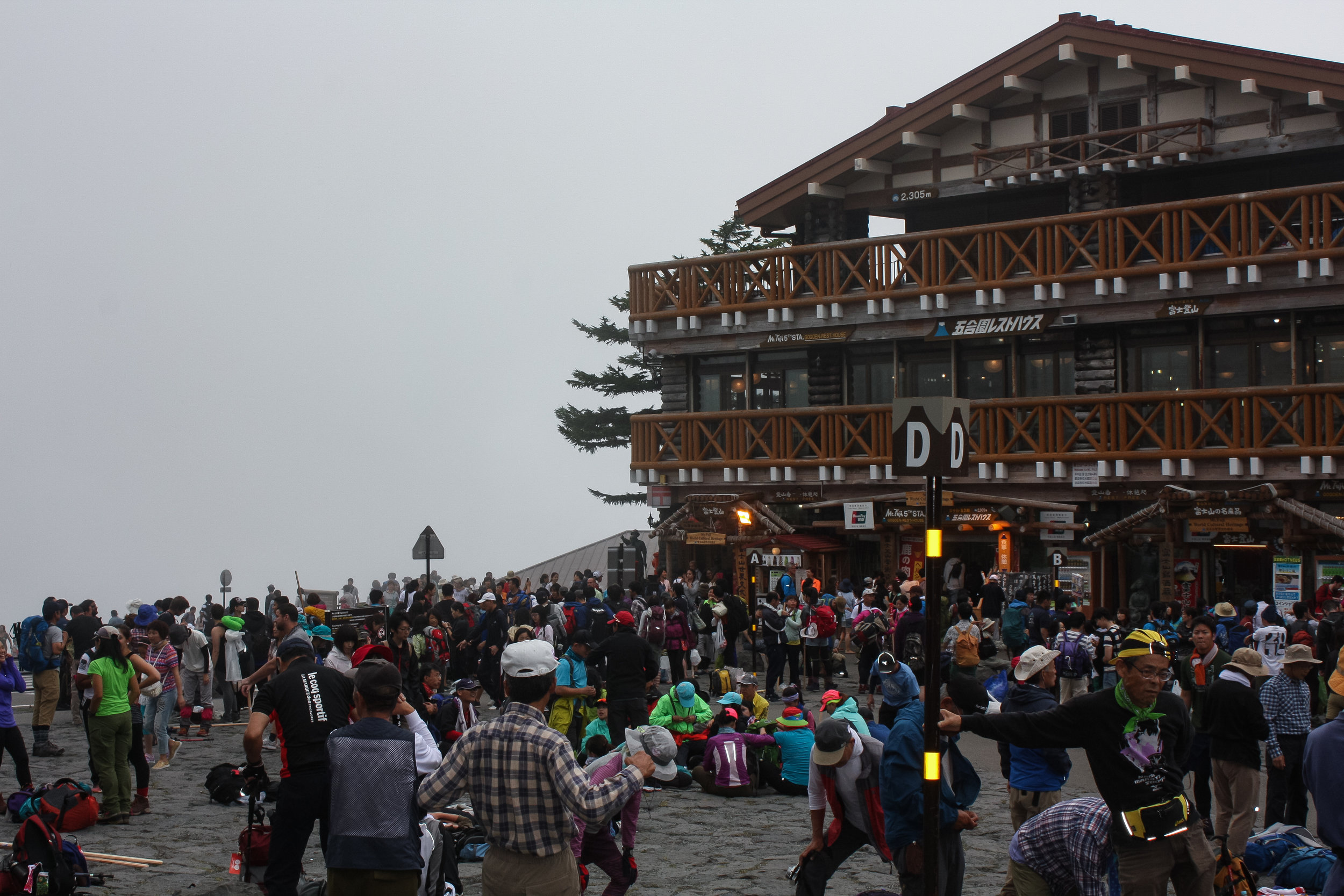 Huge crowds arrive at the Mount Fuji 5th Station ready to clim the mountain.