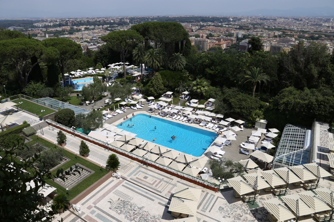 One of three outdoor pools at Rome Cavalieri