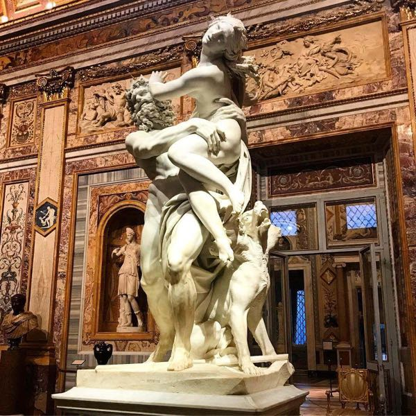 A statue inside The Borghese Gallery
