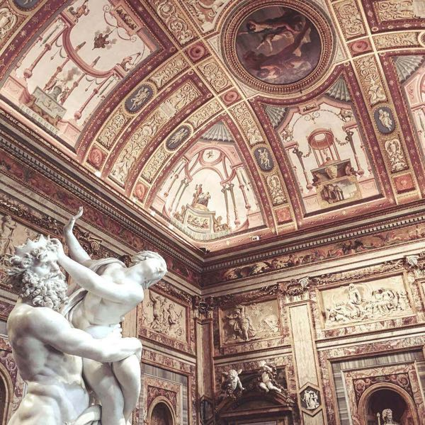 The ceiling inside The Borghese Gallery