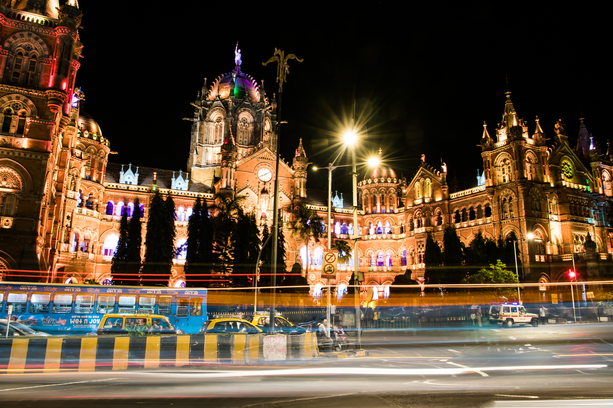 Chhatrapati Shivaji Terminus facade illuminated at night