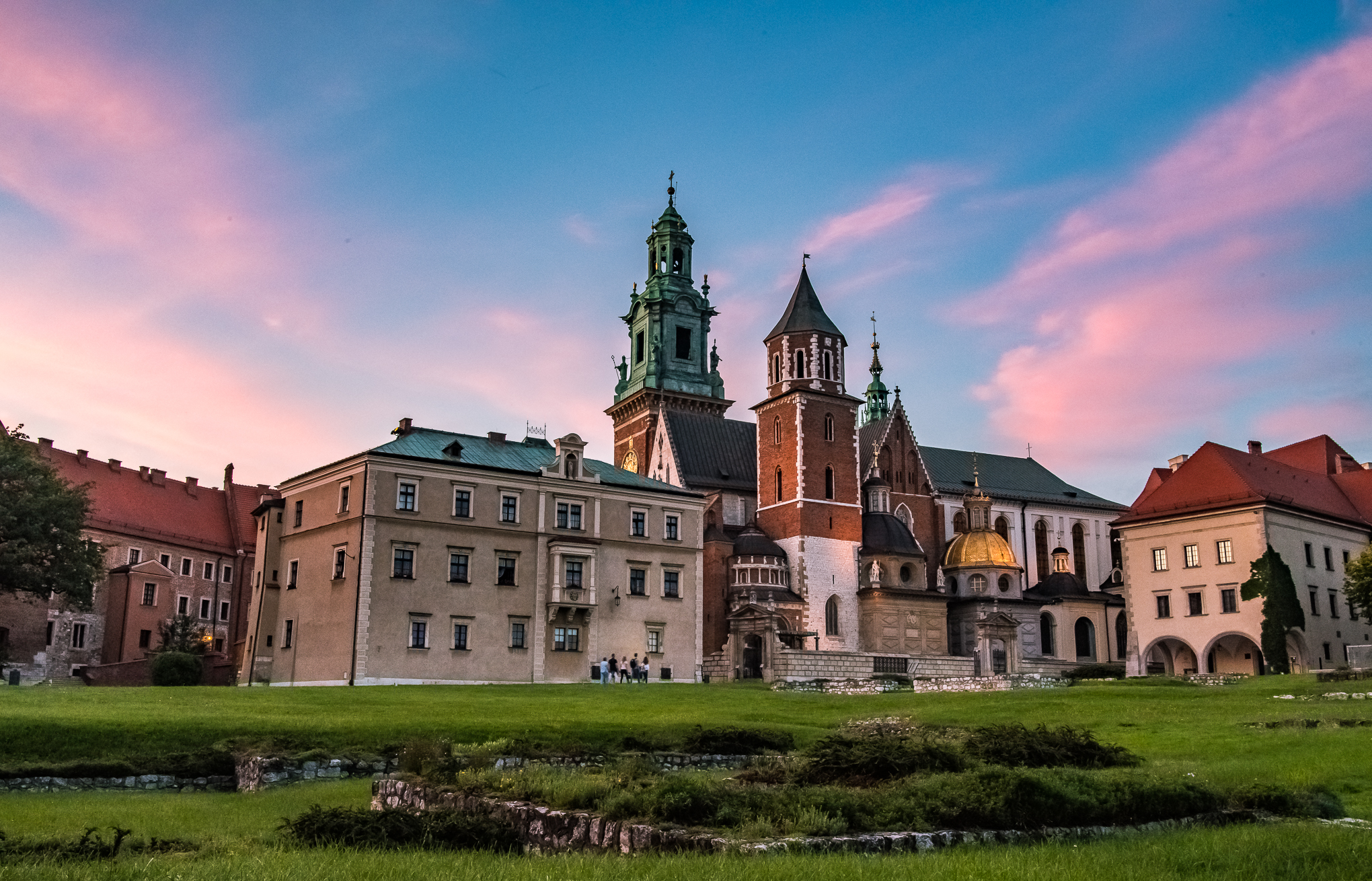 Wawel Castle at sunset. Taken from in front of Trattoria Wawel - long exposure using an ND filter.