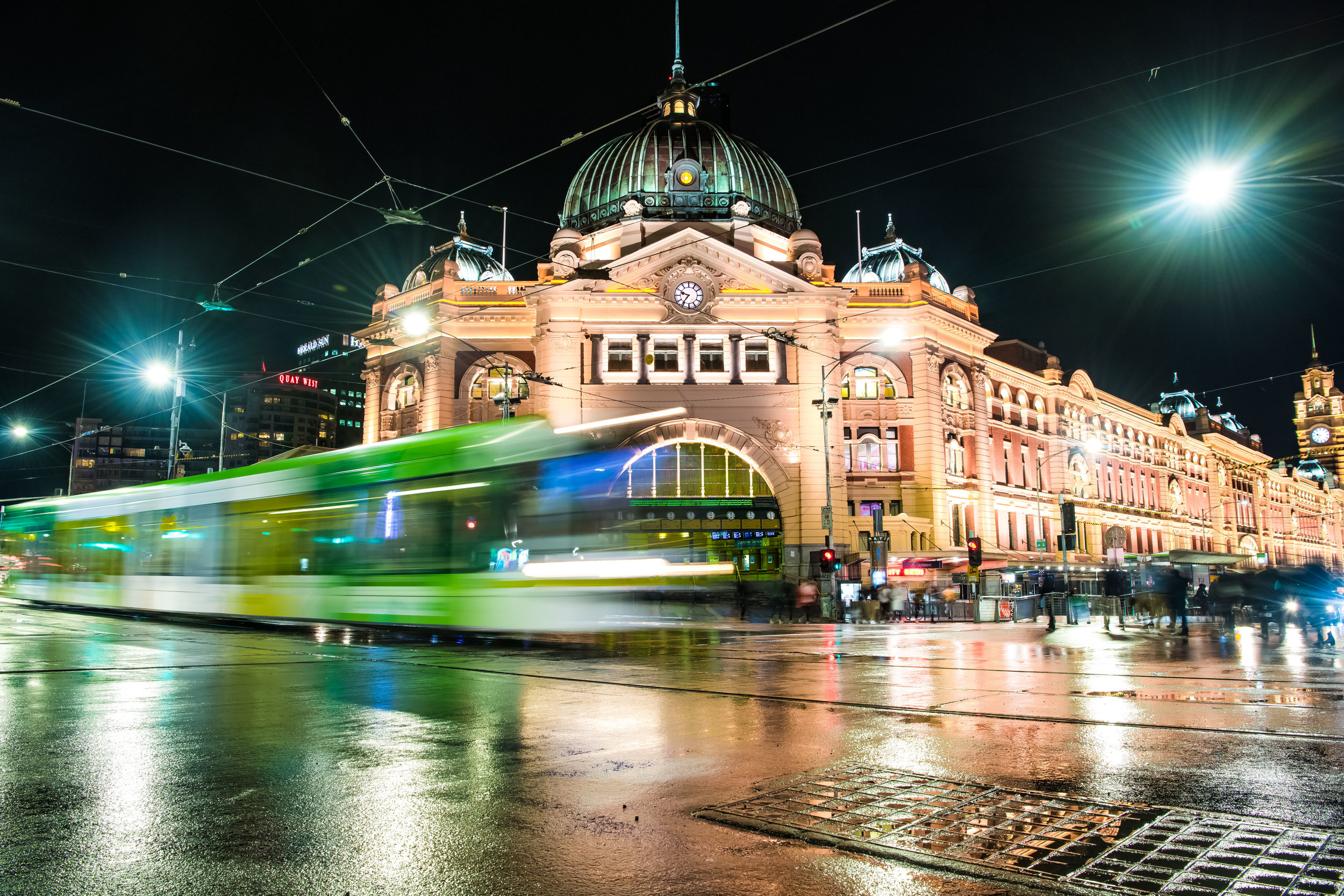 Iconic Melbourne: A tram passes in front of Flinders Street Station