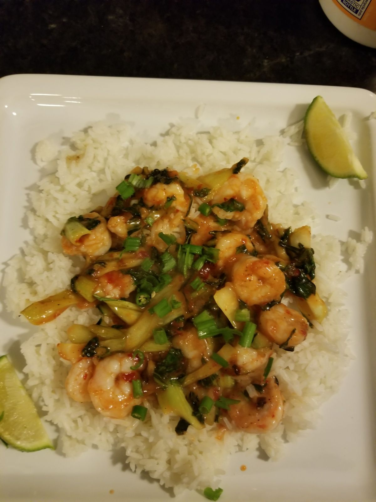 Shrimp w/bok choy and ginger