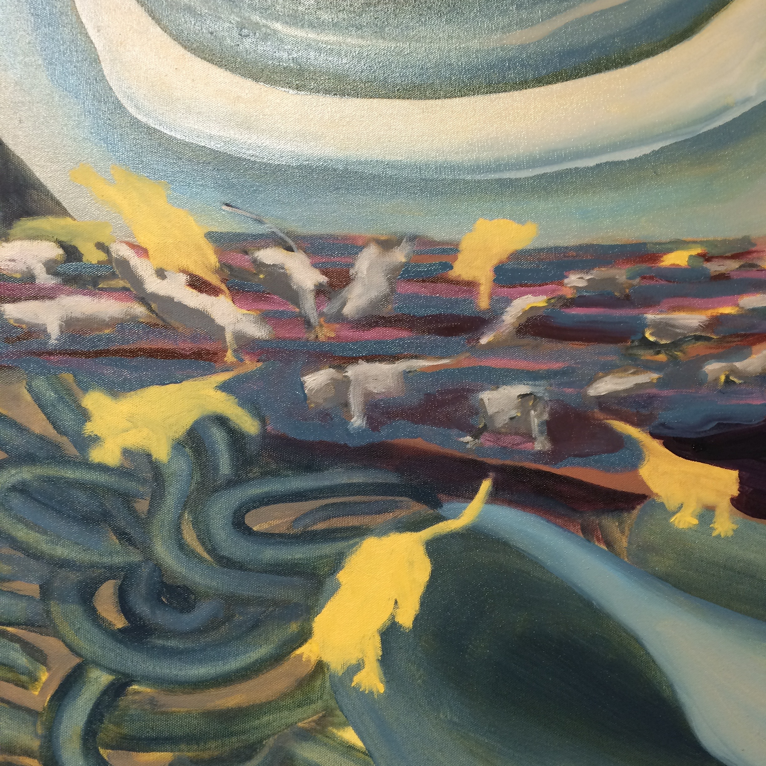 "Kemu,   detail, 2016, 66""x 66"", oil on canvas"