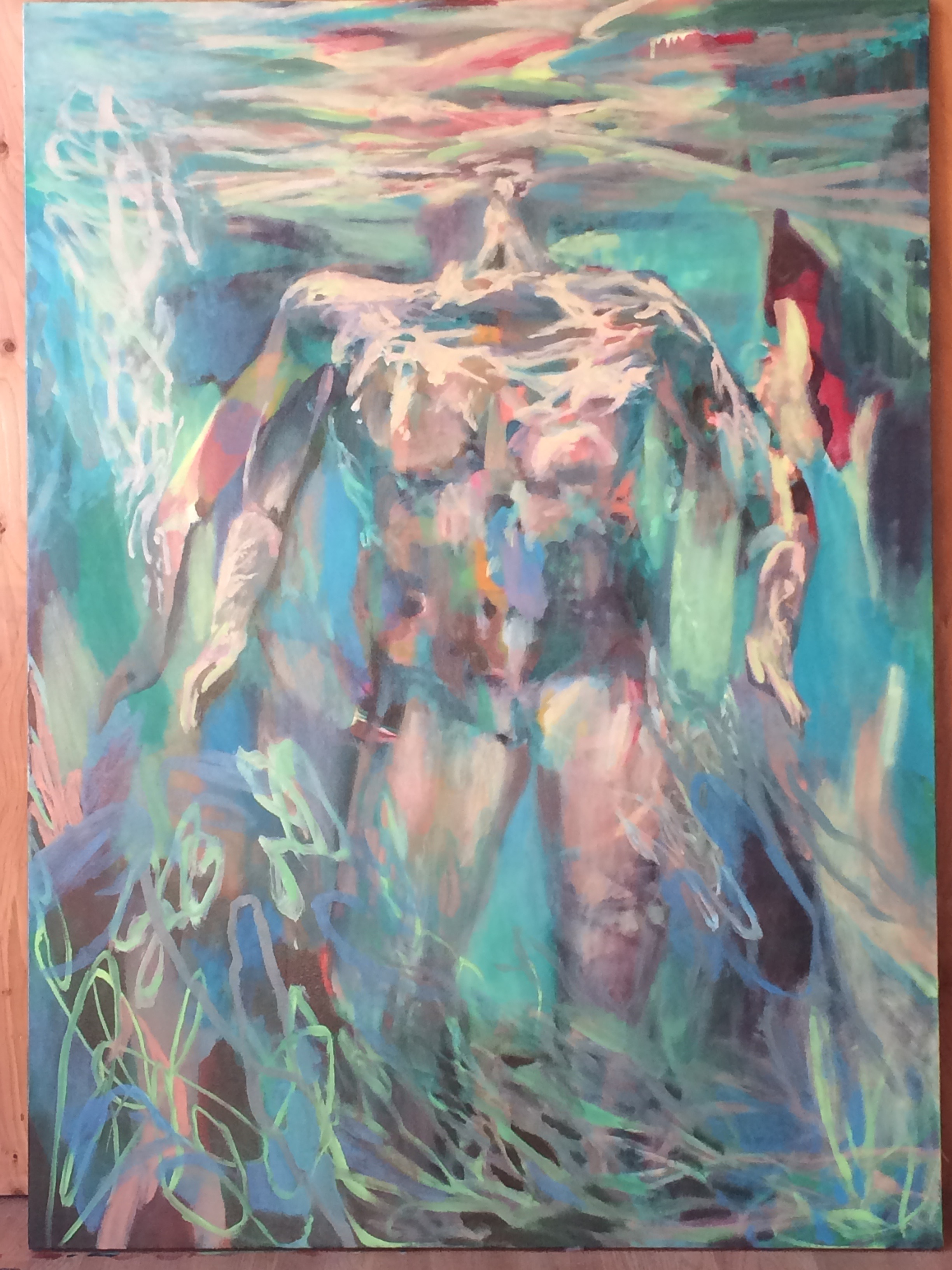 "Papahānaumoku  , 2017, 40""x 66"", oil on canvas"