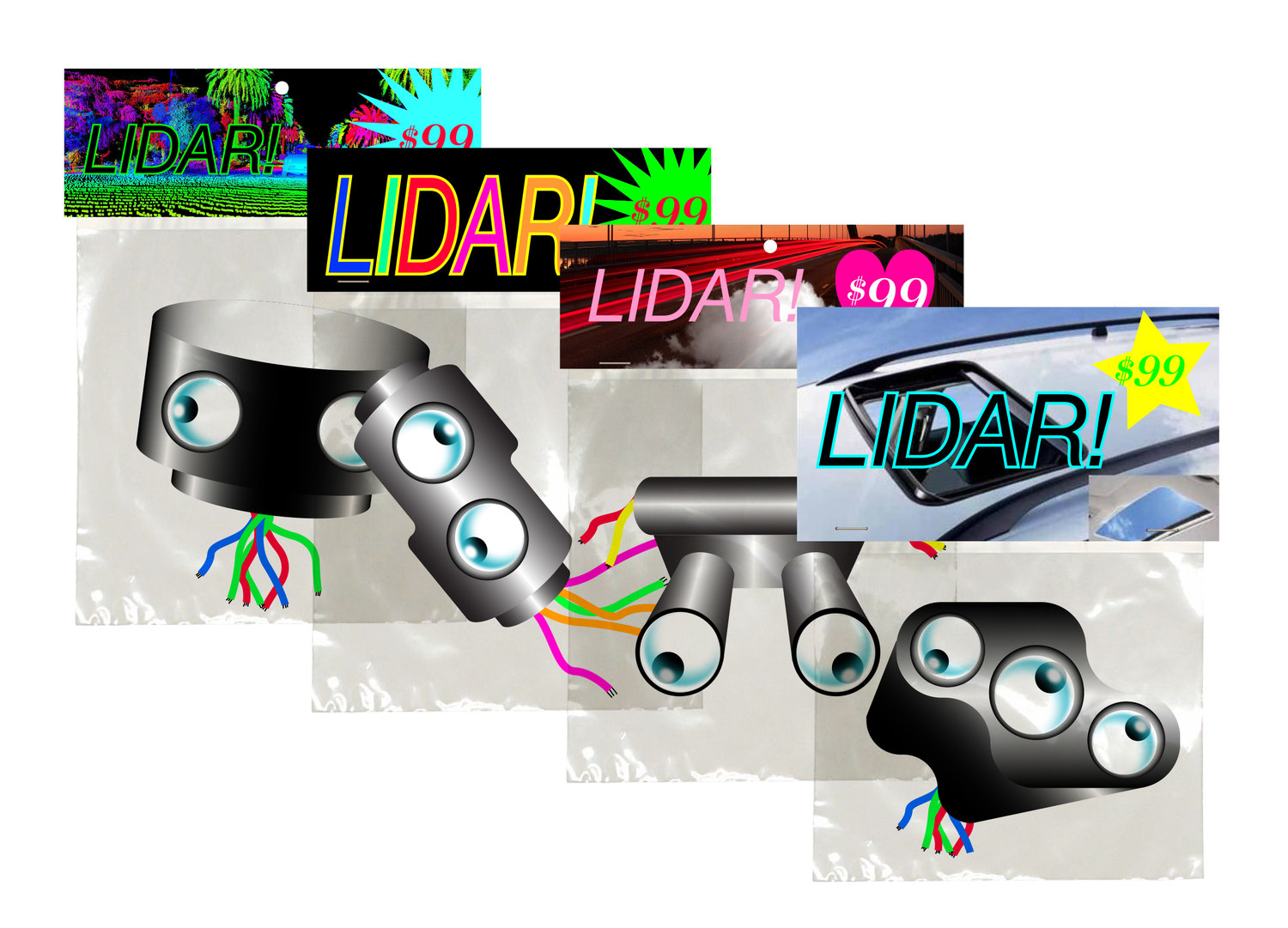 """Illustration for MIT Technology Review """"Low-Quality Lidar Will Keep Self-Driving Cars in the Slow Lane"""