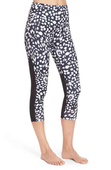 These leggings have a great high waist, a fun print, and mesh panels on the back of the legs. I own these and LOVE them!