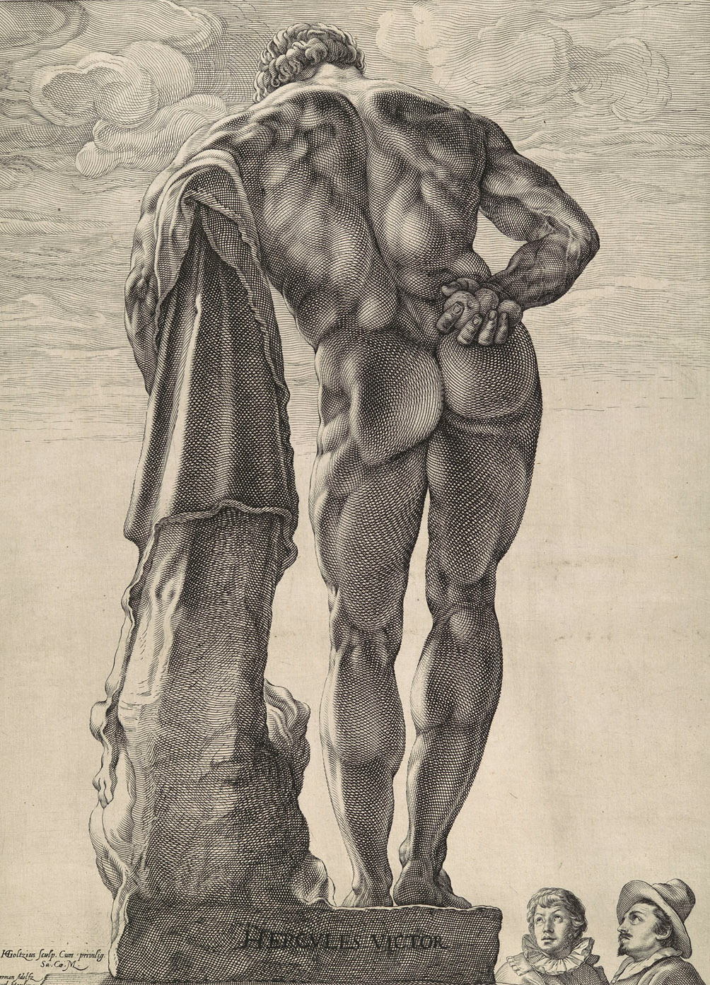 An engraving of the famed  Farnese Hercules,  one of the most muscular statues of antiquity.