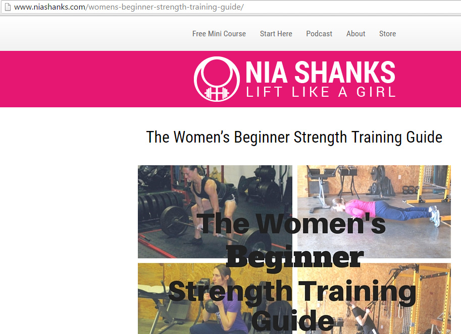 Though the massive splash of pink instantly signifies a female audience, the  training advice  of Nia Shanks is well suited for most human beings. For Western Strength, we've tried to largely de-gender our advice except when it pertains to a concentrated myth among either men or women.