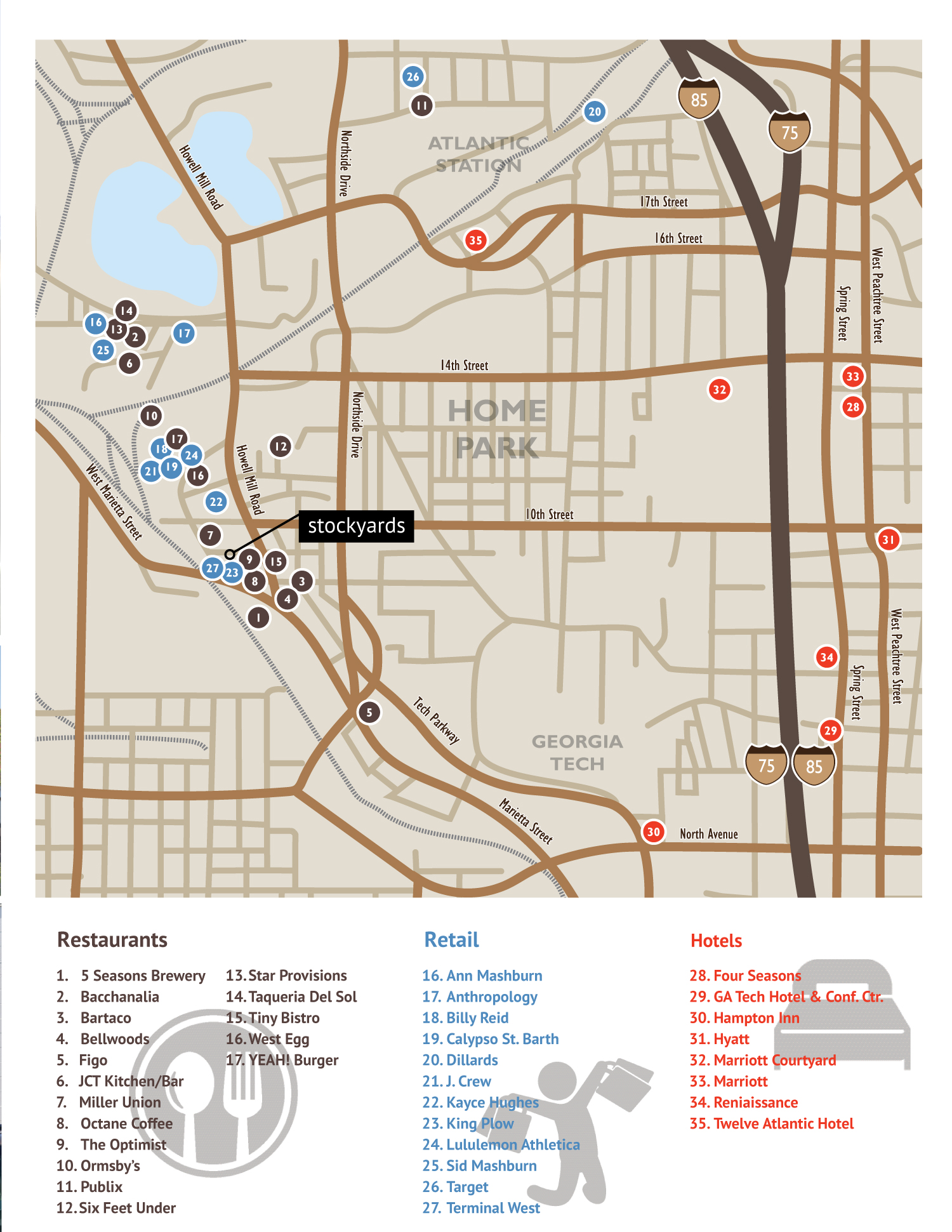 There are several restaurants, shopping, and places to stay near Stockyards! Click to view larger map.