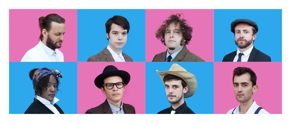 (from top-left, clockwise): Matt (vocals), Kenneth (bass, vocals), Ben (drums), Marcus (keys), Yusuf (trombone), Joe (piano),Marv (guitar, vocals), Jan-ai (vocals)