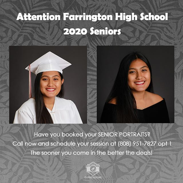Calling all Farrington 2020 Seniors! Book your session today! • • • •  #expressions #summer #hawaii #portrait #photography #happy #Senior #Oahu #Honolulu #photography #studio #canon #canonphotography #canon_photos #2020 #July