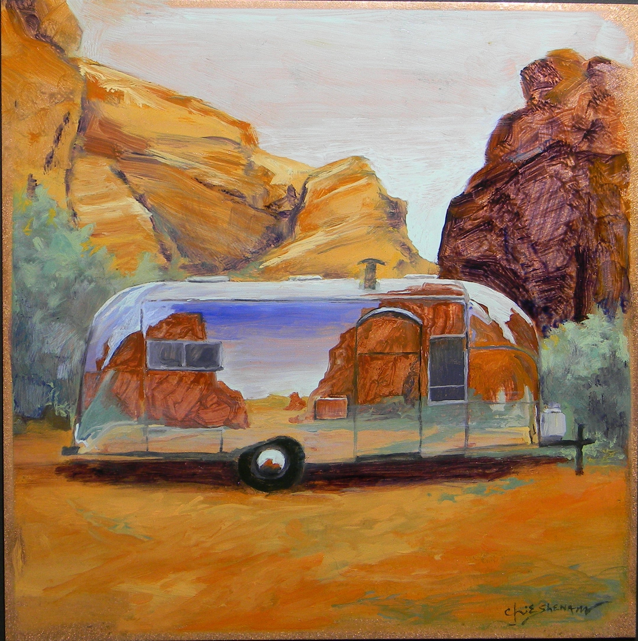 Airstream in the red rock country 12x12 oil on copper $400.00
