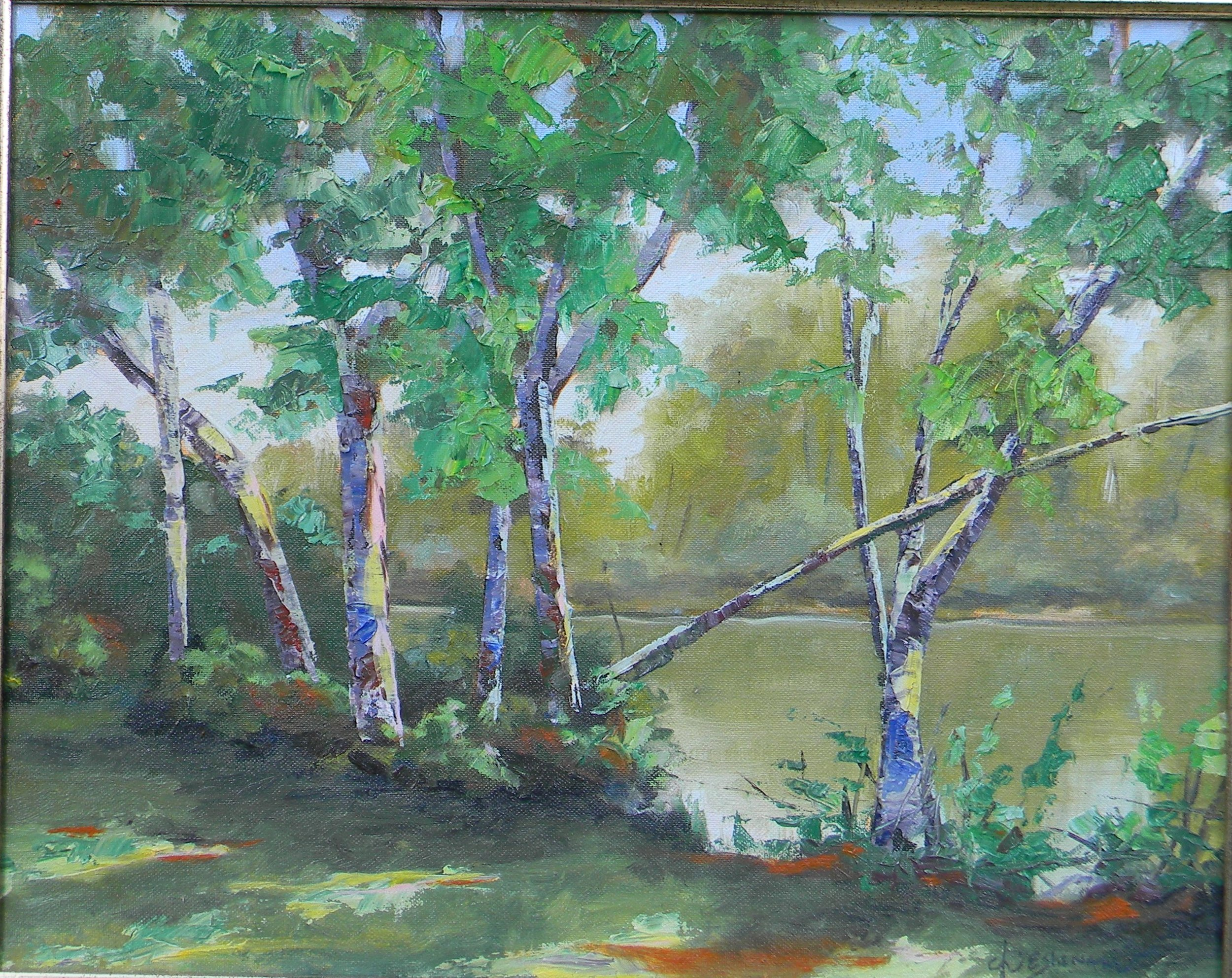 Trees of the Boise river 18x24 oil on canvas $995.00